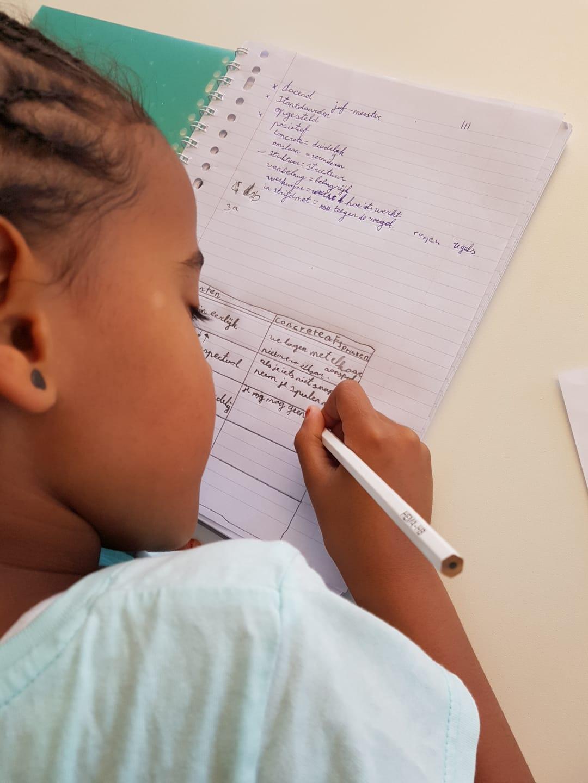 Meisje die bijles begrijpend lezen krijgt en hier bezig is met haar woordenschat